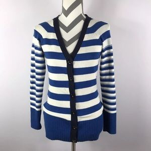{Ann Taylor} Blue White Striped V-neck Cardigan